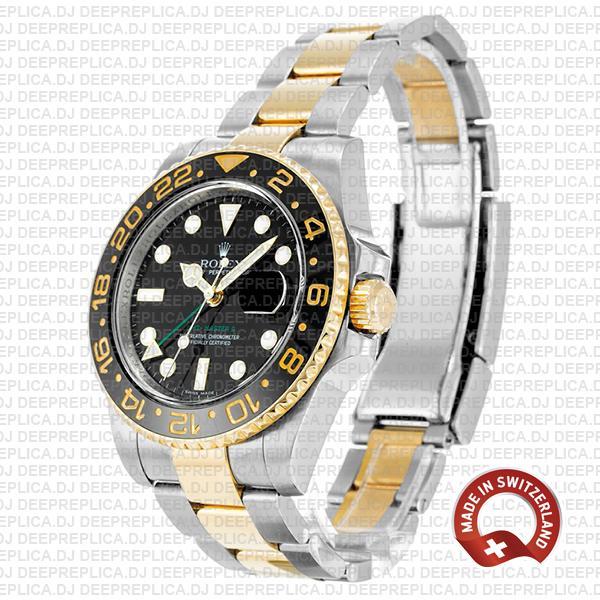 Rolex GMT-Master II Two-Tone 18k Yellow Gold, Black Dial Ceramic Bezel 904L Steel 40mm Replica Watch