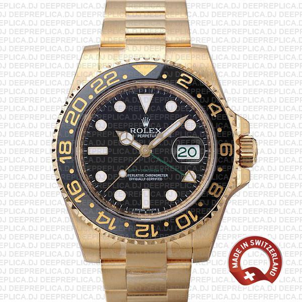 Rolex GMT-Master II Replica Gold Black Dial Swiss Rolex Watch