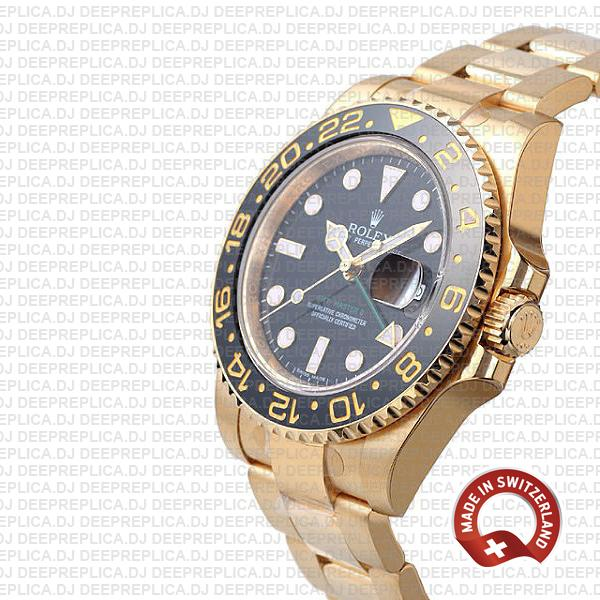 Rolex GMT-Master II 18k Yellow Gold Black Dial, Black Ceramic Bezel 116718 40mm Rolex Replica Watch