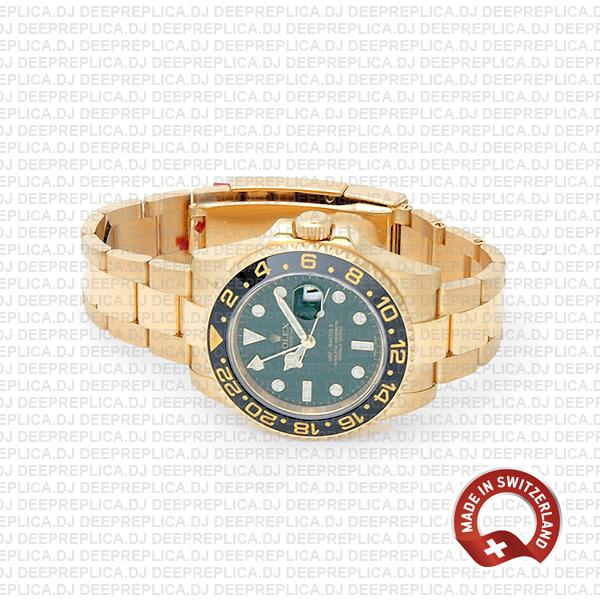 Super Clone Rolex GMT-Master II Green Dial 40mm 18k Yellow Gold 904L Steel Black Ceramic Bezel Replica