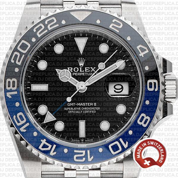 Rolex GMT-Master II Batman Black Dial 40mm Blue Black Ceramic Bezel in with 904L Steel Jubilee Bracelet Replica Watch
