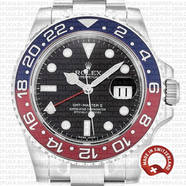 Rolex GMT-Master II 18k White Gold 40mm Pepsi Red Blue Ceramic Bezel in Stainless Steel Black Dial Replica Watch