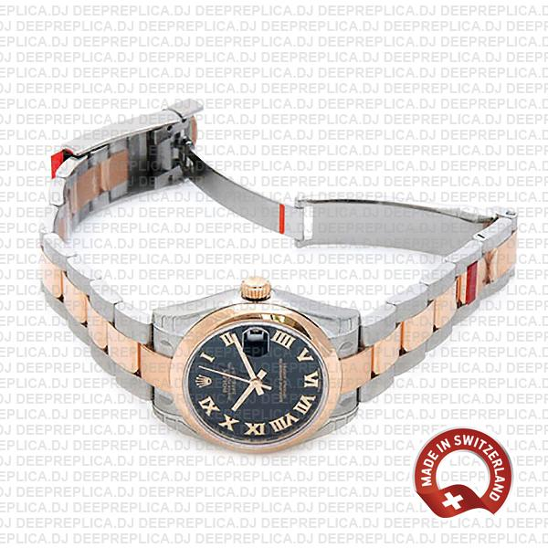 Rolex Datejust 904L Stainless Stee 18k Rose Gold Two-Tone with Oyster Bracelet & Black Roman Dial 31mm