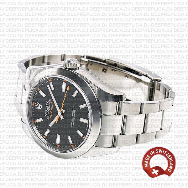 Rolex Milgauss Black Dial 40mm Stainless Steel Smooth Bezel in 904L Steel Oyster Bracelet Replica