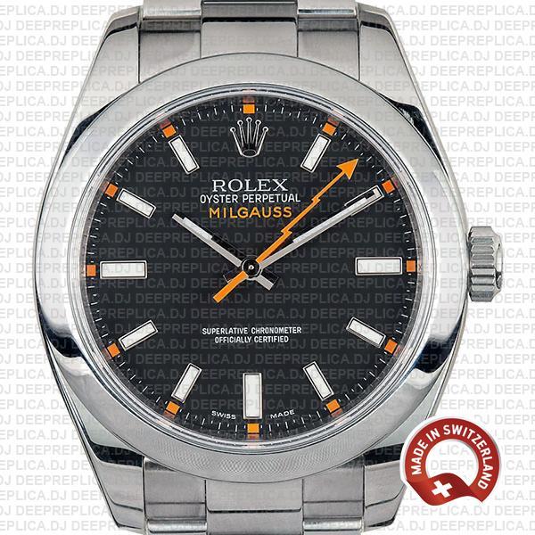 Rolex Milgauss Black Dial 40mm Stainless Steel Smooth Bezel in 904L Steel Oyster Bracelet Replica Watch