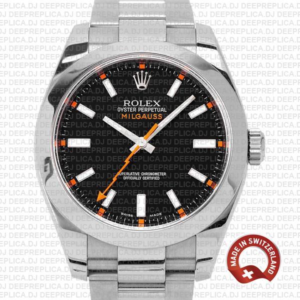 Rolex Milgauss Stainless Steel Black Dial Rolex Replica Watch