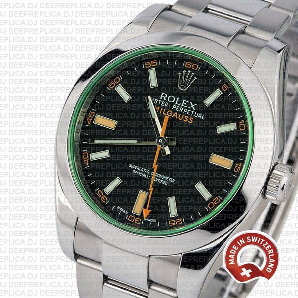Rolex Milgauss Stainless Steel Green Dial Best Replica Watch
