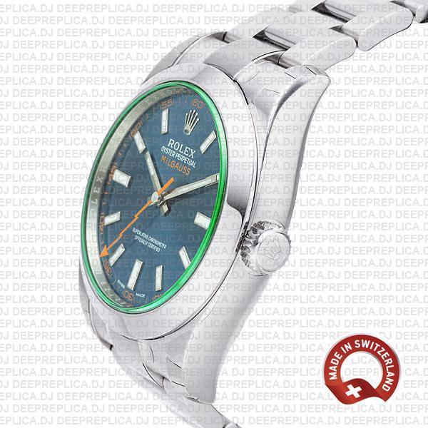 Rolex Milgauss Stainless Steel Blue Dial Rolex Replica Watch