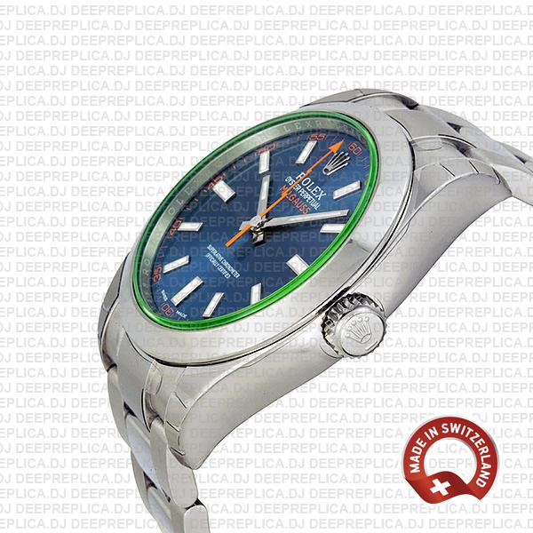 Rolex Milgauss 904L Steel Blue Dial 40mm Swiss Replica Watch with Oyster Bracelet, Rolex 3131 Clone Movement