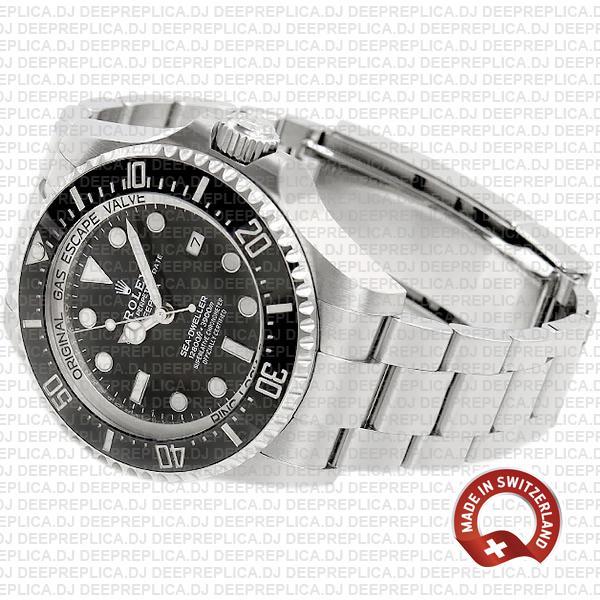 Rolex Deepsea Sea-Dweller Stainless Steel Oyster Perpetual Date Watch in Ceramic Bezel with Black Dial Replica