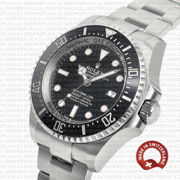 Rolex Deepsea Sea-Dweller Stainless Steel Oyster Perpetual Date Watch in Ceramic Bezel with Black Dial Replica Watch
