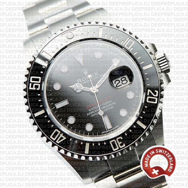 Rolex Sea-Dweller 43mm Oyster Perpetual Watch in 904L Stainless Steel Black Dial 126600 Replica Watch