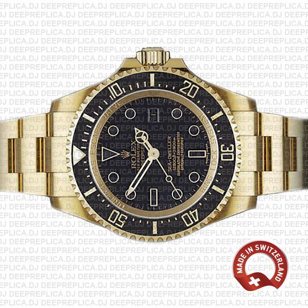 Rolex Sea-Dweller 44mm Black Dial Swiss Replica with Rolex Swiss 3135 Clone Movement
