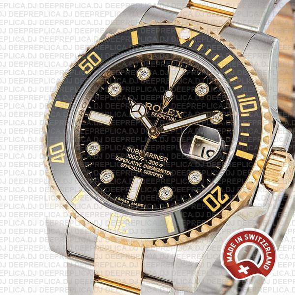 Rolex Oyster Perpetual Submariner 2 Tone 18k Yellow Gold Black Diamond Dial Rolex Replica Date Watch