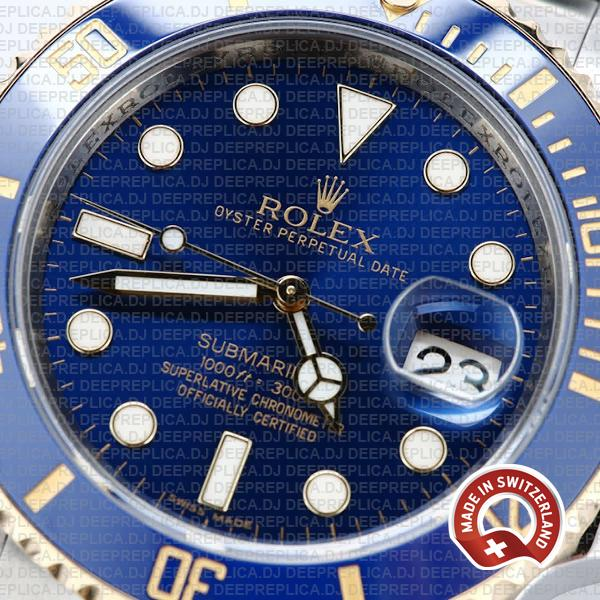 Rolex Submariner 40mm 2 Tone 18k Yellow Gold Blue Dial with Blue Ceramic Bezel