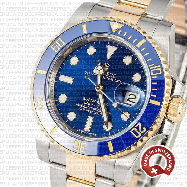 Rolex Submariner 40mm 2 Tone 18k Yellow Gold Blue Dial with Blue Ceramic Bezel Replica