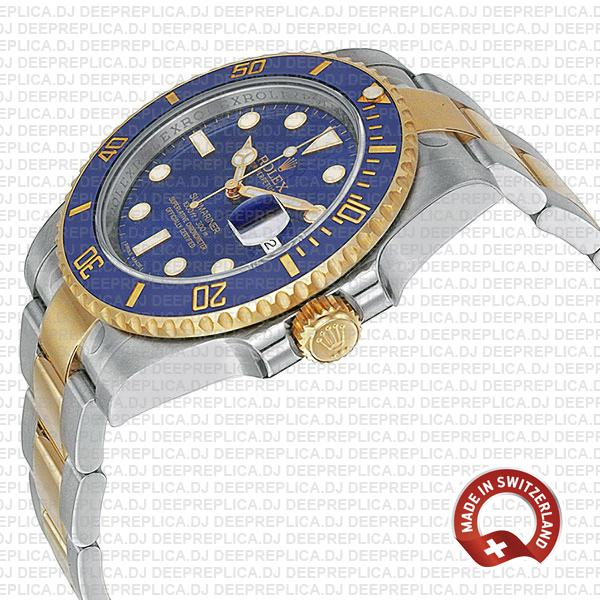 Rolex Submariner 40mm 2 Tone 18k Yellow Gold Blue Dial with Blue Ceramic Bezel Replica Watch