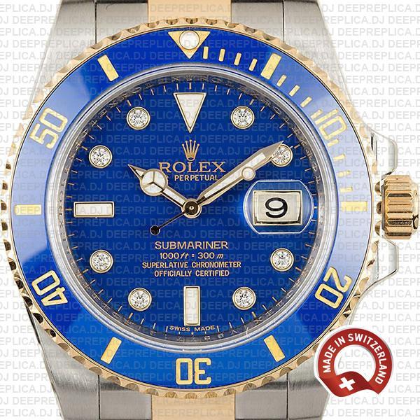 Rolex Submariner 2 Tone 904L Steel 18k Yellow Gold, Blue Diamond Dial Replica Watch