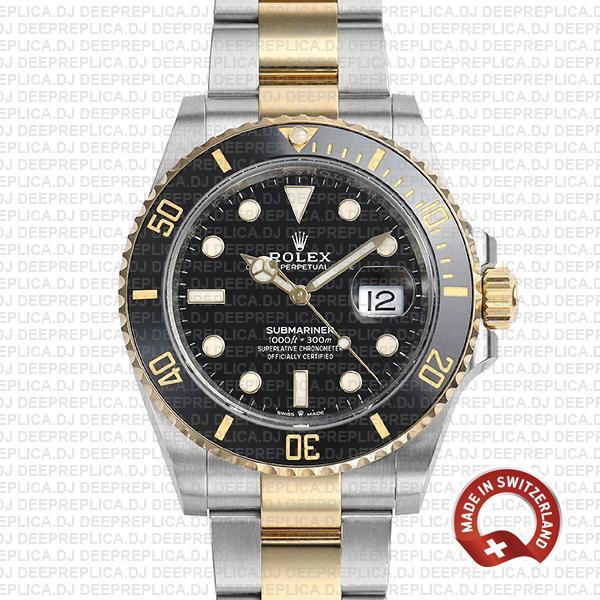 Rolex Submariner 2 Tone 41mm   Black Dial Replica Watch