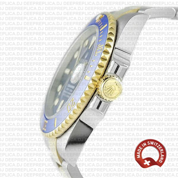 Rolex Submariner 2 Tone 904L Stainless Steel 18K Yellow Gold Wrap Blue Dial