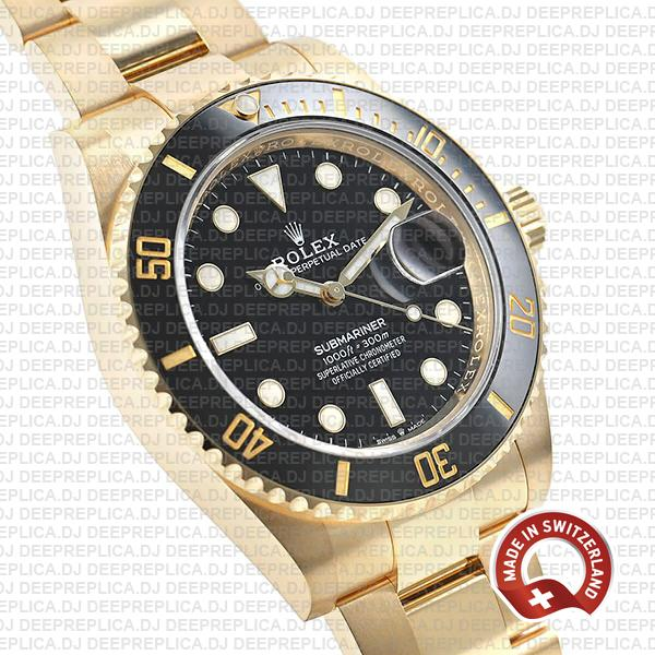 Replica Rolex Submariner Watch 18k Yellow Gold in Black Dial