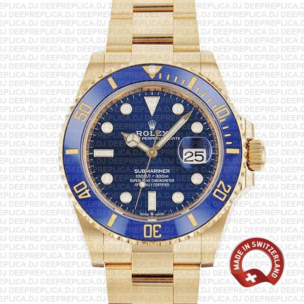 Rolex Submariner Gold Blue Dial | High Quality Replica Watch