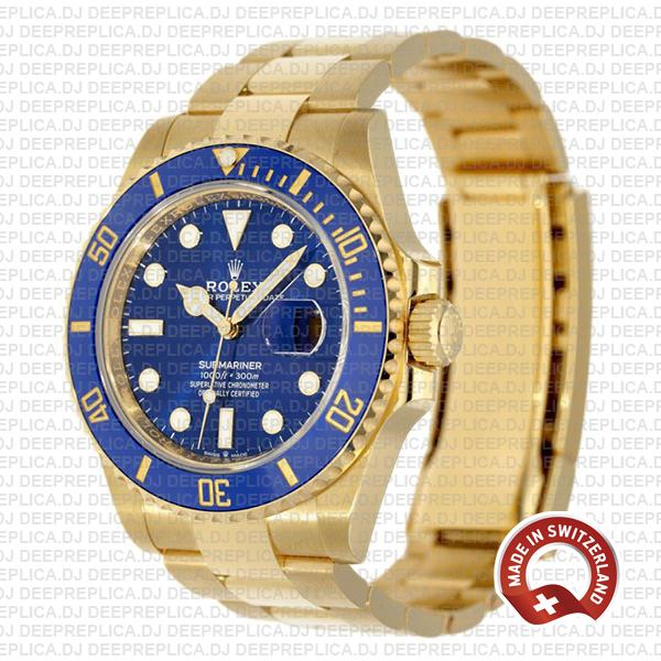 Oyster Perpetual Rolex Submariner 18k Yellow Gold with Blue Dial