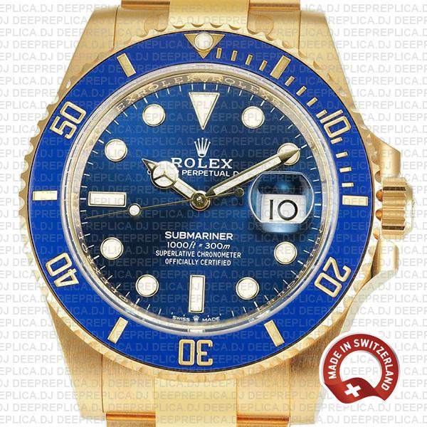 Oyster Perpetual Rolex Submariner 18k Yellow Gold with Blue Dial & Ceramic Bezel Best Swiss Replica Watch