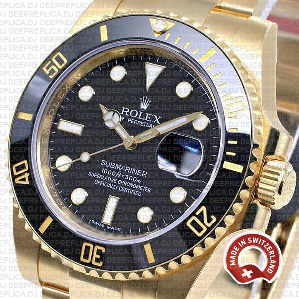 Rolex Submariner 18k Yellow Gold Date Watch in Black Dial