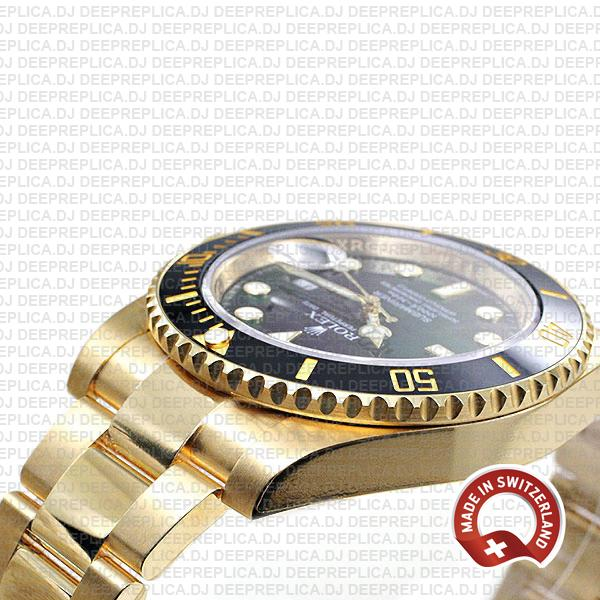 Rolex Submariner 18k Yellow Gold Date Watch in Black Dial Replica Watch
