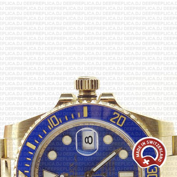 Rolex Submariner 18k Gold Blue Dial Best Rolex Replica Watch