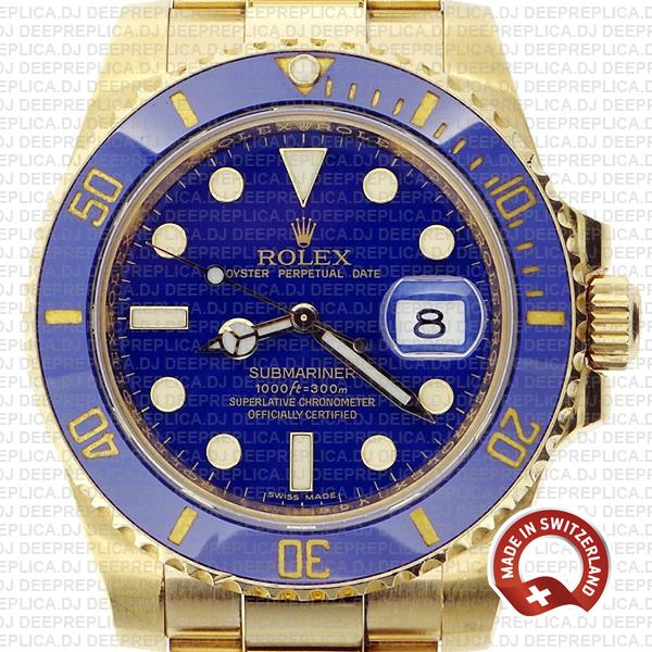 Oyster Perpetual Rolex Submariner 18k Yellow Gold with Blue Ceramic Bezel