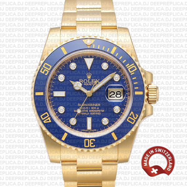 Rolex Submariner 18k Yellow Gold 40mm Rolex Replica Watch