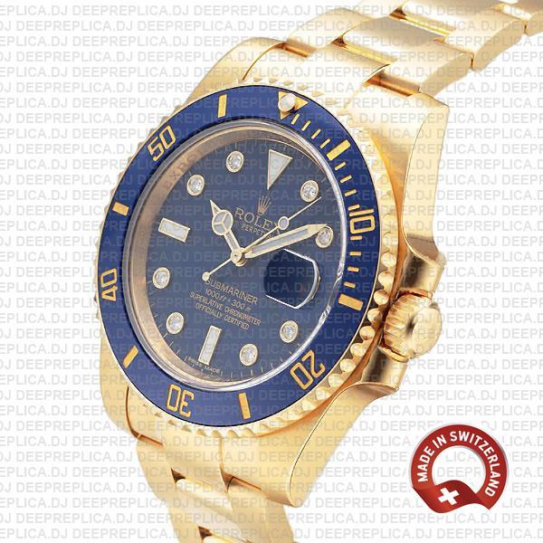 Rolex Submariner 18k Yellow Gold Wrap Blue Ceramic Bezel 40mm Watch