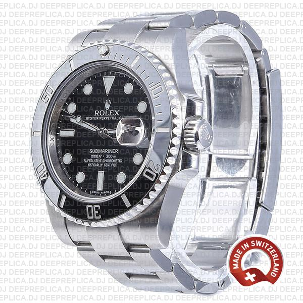 Rolex Oyster Perpetual Submariner Black Dial No Date Replica Watch in 904L Stainless Steel