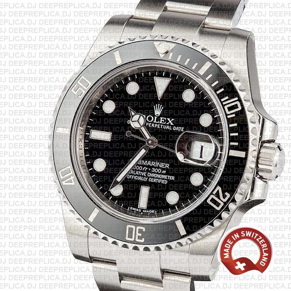 Rolex Oyster Perpetual Date Submariner Black Dial Stainless Steel Rolex Replica Watch