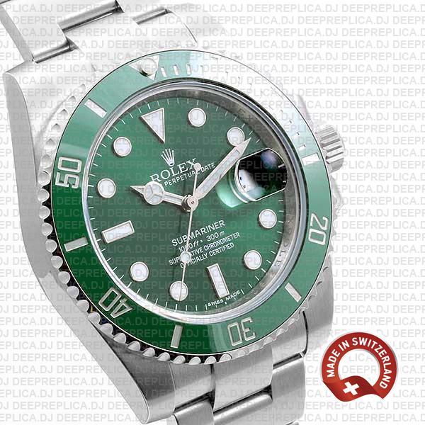 Rolex Submariner 904L Stainless Steel Green Dial Ceramic Bezel 40mm Swiss Made Replica Watch