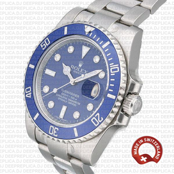 Rolex Submariner White Gold Blue Diamonds Ceramic 40mm 116619