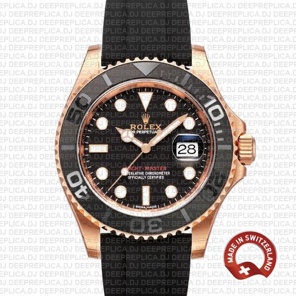 Rolex Yacht-Master Rose Gold Black Dial Swiss Replica Watch