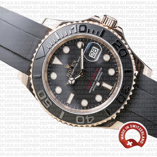 Rolex Yacht-Master Stainless Steel 18k Rose Gold Black Ceramic Bezel Rubber Strap Watch