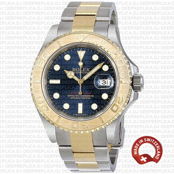 Rolex Yacht-Master Two-Tone 18k Yellow Gold, Stainless Steel in Blue Dial with Oyster Bracelet Fake Watch
