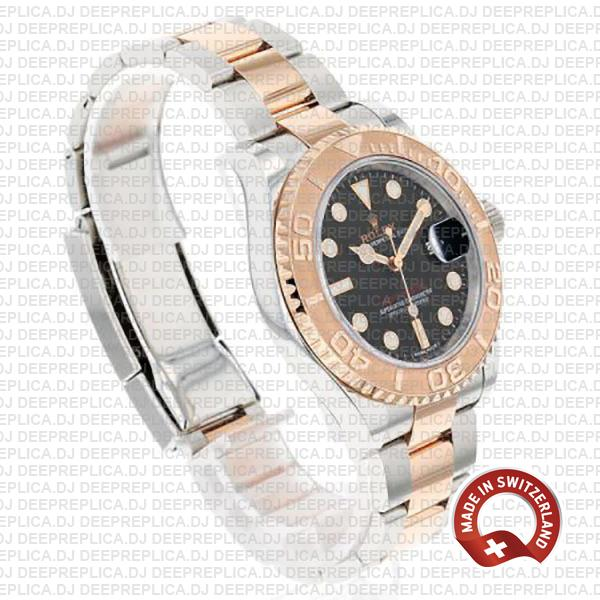 Rolex Yacht-Master 40mm 18k Rose Gold Two-Tone, Stainless Steel Black Dial Oyster Bracelet Replica Watch