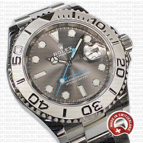 Rolex Yacht-Master 2016 Platinum Rolesium 904L Stainless Steel 40mm, Dark Rhodium Dial Swiss Made Replica Watch