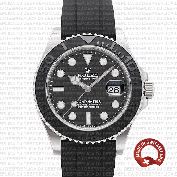 Top Replica Rolex Yacht-Master White Gold Rubber Strap Watch