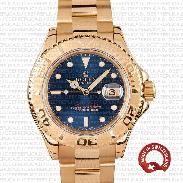Rolex Yacht-Master 904L Stainless Steel 18k Yellow Gold Blue Dial Swiss Replica Watch