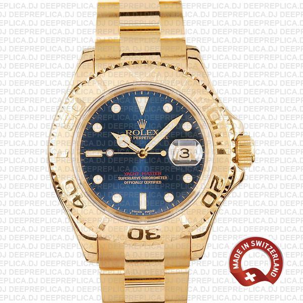 Rolex Yacht-Master Gold Blue Dial | Best Rolex Replica Watch