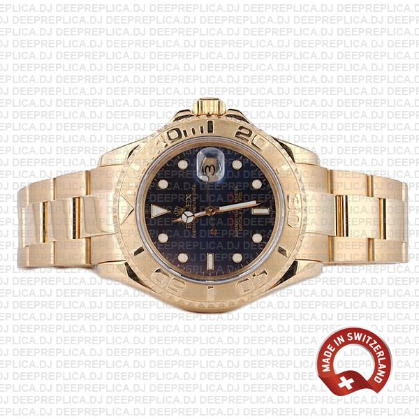 Rolex Yacht-Master Gold Blue Dial Best Rolex Replica Watch