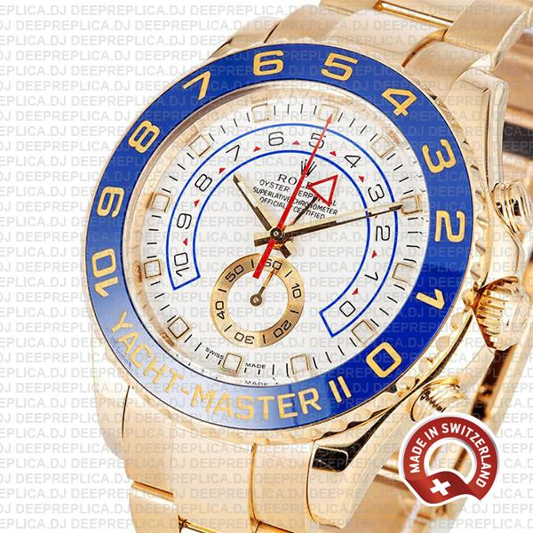 Yacht-Master II 18k Yellow Gold Stainless Steel White Dial Watch with Blue Ceramic Bezel Replica Watch