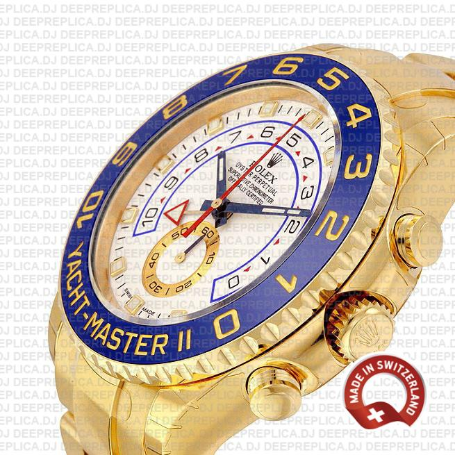 Yacht-Master II 18k Yellow Gold Stainless Steel White Dial Watch with Blue Ceramic Bezel