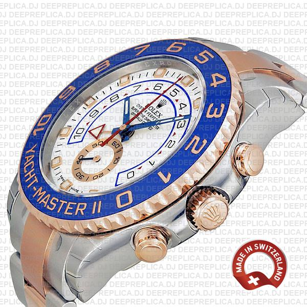 Rolex Yacht-Master II Two-Tone 18k Rose Gold White Dial 44mm with Steel Oyster Bracelet & Blue Ceramic Bezel Replica Watch